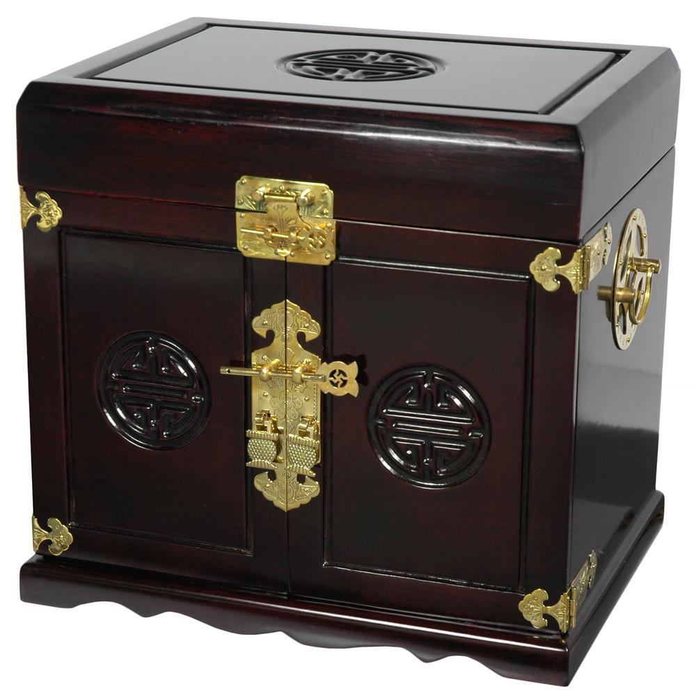 Oriental Furniture Dark Rosewood Jewelry Box with Five Drawers
