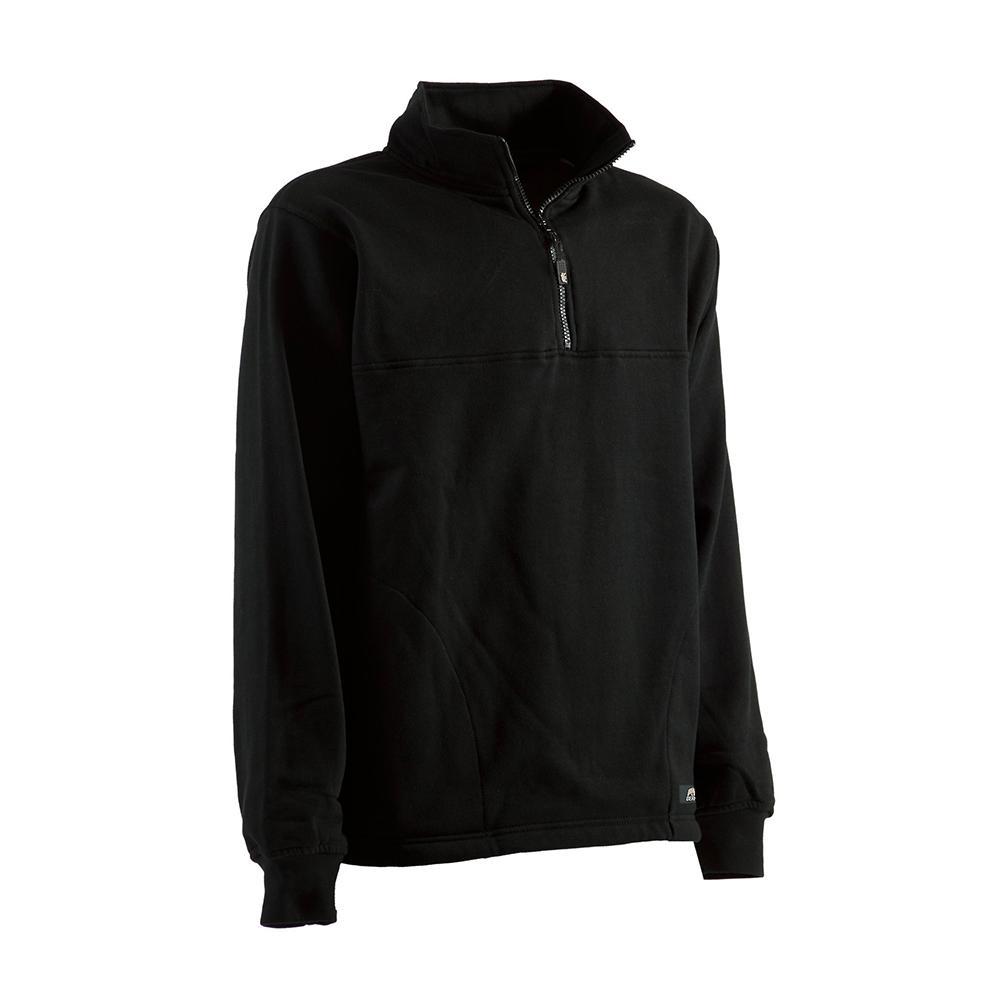 Men s Medium Black Cotton and Polyester Fleece Thermal Lined Quarter Zip  Sweatshirt cbb0507e583