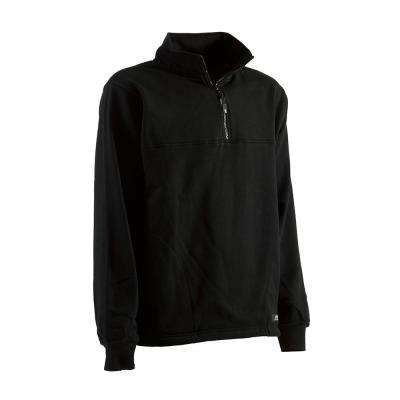 Men's Large Tall Black Cotton and Polyester Fleece Thermal Lined Quarter Zip Sweatshirt