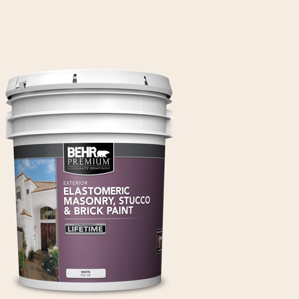 5 gal. #OR-W10 White Flour Elastomeric Masonry, Stucco and Brick Exterior Paint
