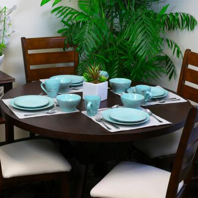 Malibu 16-Piece Coastal Turquoise Stoneware Dinnerware Set (Service for 4)