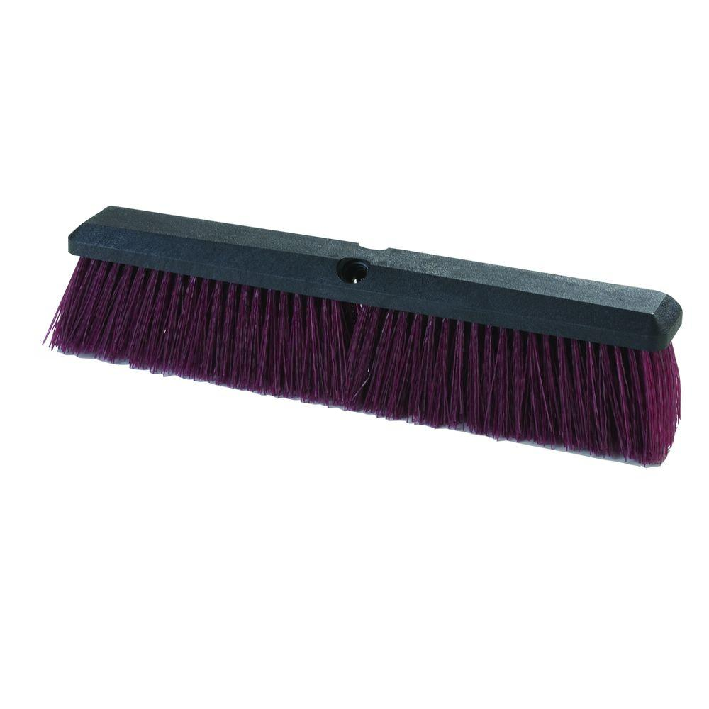 18 in. Plastic Block Polypropylene Heavy Sweep in Maroon (12-Case)