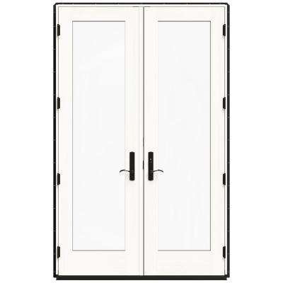 60 in. x 96 in. W-4500 Black Clad Wood Left-Hand Full Lite French Patio Door w/White Paint Interior