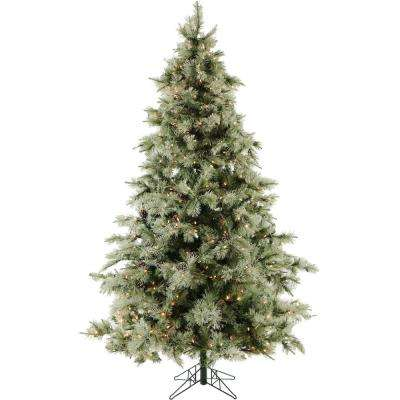 9.0 ft. Pre-Lit LED Glistening Pine Artificial Christmas Tree with Pine Cones 1350 Clear LED Lights and EZ Connect