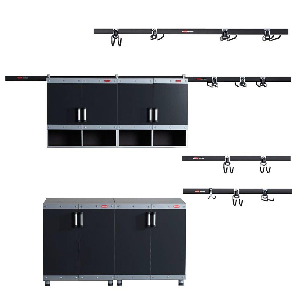 Rubbermaid FastTrack Garage Laminate 4 Piece Cabinet Set With Accessory In Black Silver