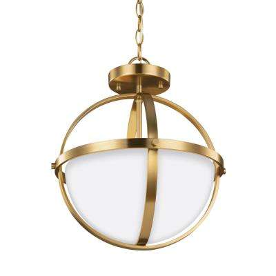 Alturas 2-Light Satin Bronze Semi-Flushmount Convertible Pendant