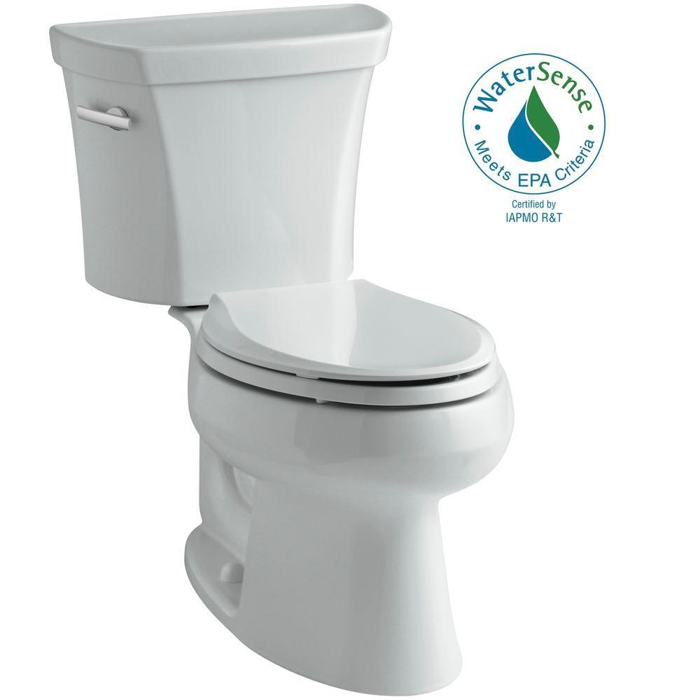 KOHLER Wellworth 2-piece 1.28 GPF Elongated Toilet in Ice Grey