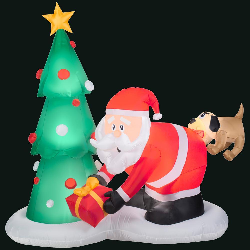 83.86 in. L x 43.31 in. W x 81.1 in. H Inflatable Santa and Dog Scene