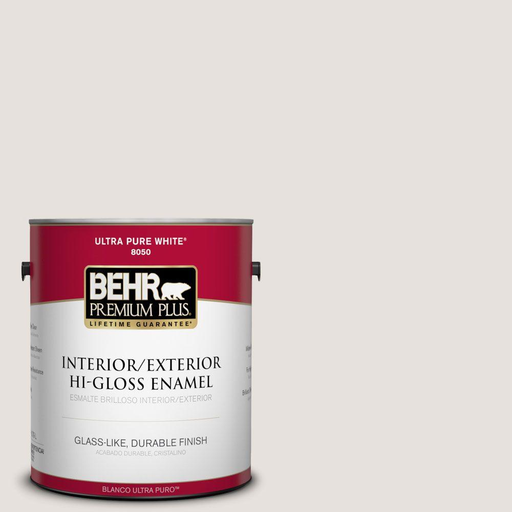 BEHR Premium Plus 1-gal. #N180-1 Barely Brown Hi-Gloss Enamel Interior/Exterior Paint
