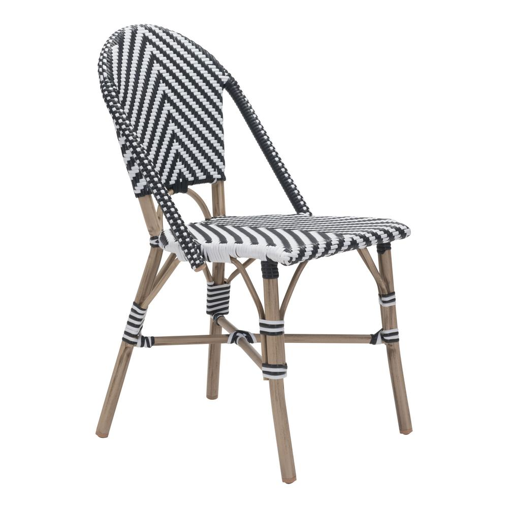 Zuo Paris Metal Outdoor Patio Dining Chair In Black And White Pack Of 2