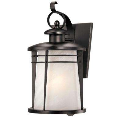 Senecaville Wall-Mount 1-Light Outdoor Weathered Bronze Lantern