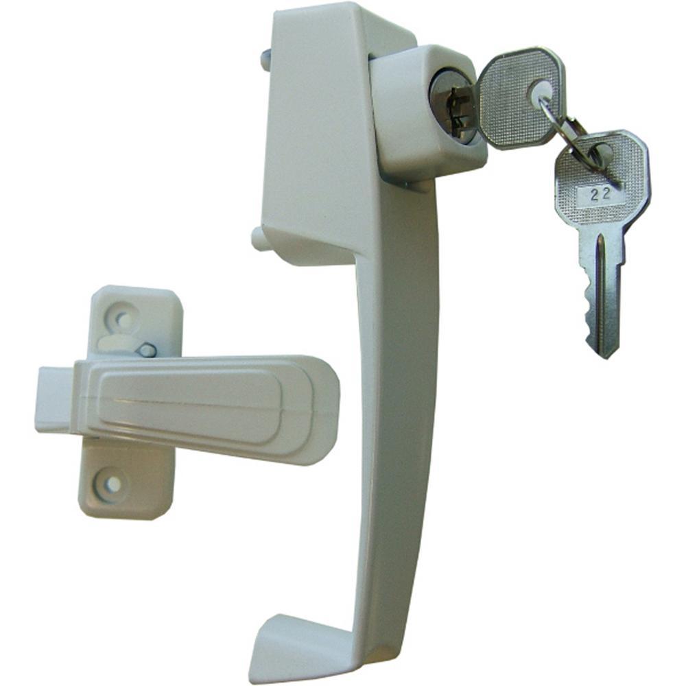 VP Push Button Handle Set with Key Lock (White)