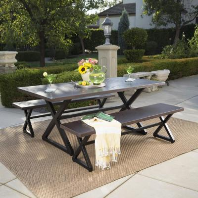 Black and Brown 3-Piece Metal Rectangular Outdoor Picnic-Style Dining Set