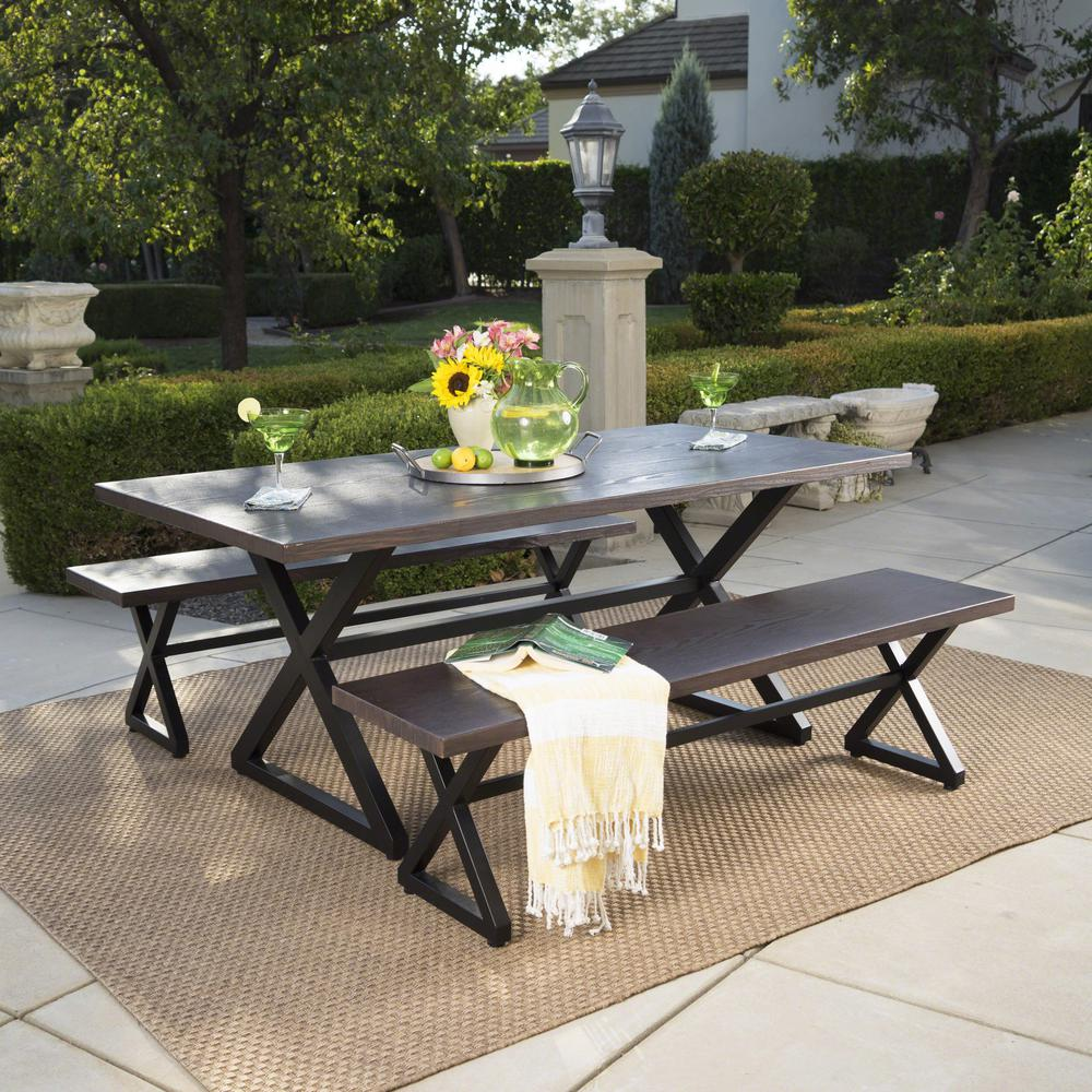 Black and brown 3 piece metal rectangular outdoor picnic style dining set