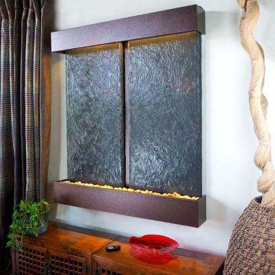 Double Nojoqui Falls Lightweight Slate Wall Fountain in Copper Vein Trim