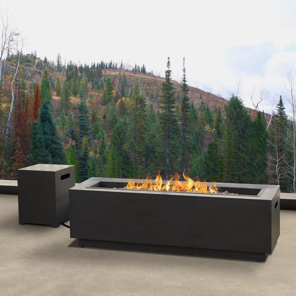 Rectangle Propane Fire Pit Table: Real Flame Lanesboro 48 In. X 15 In. Rectangle Powder