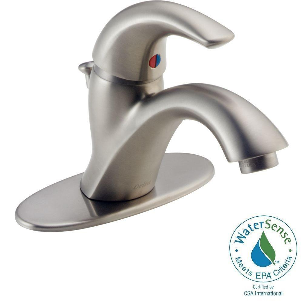 Delta Classic Single Hole Single Handle Bathroom Faucet In Stainless