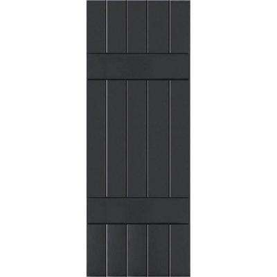 18 in. x 60 in. Exterior Composite Wood Board and Batten Shutters Pair Black
