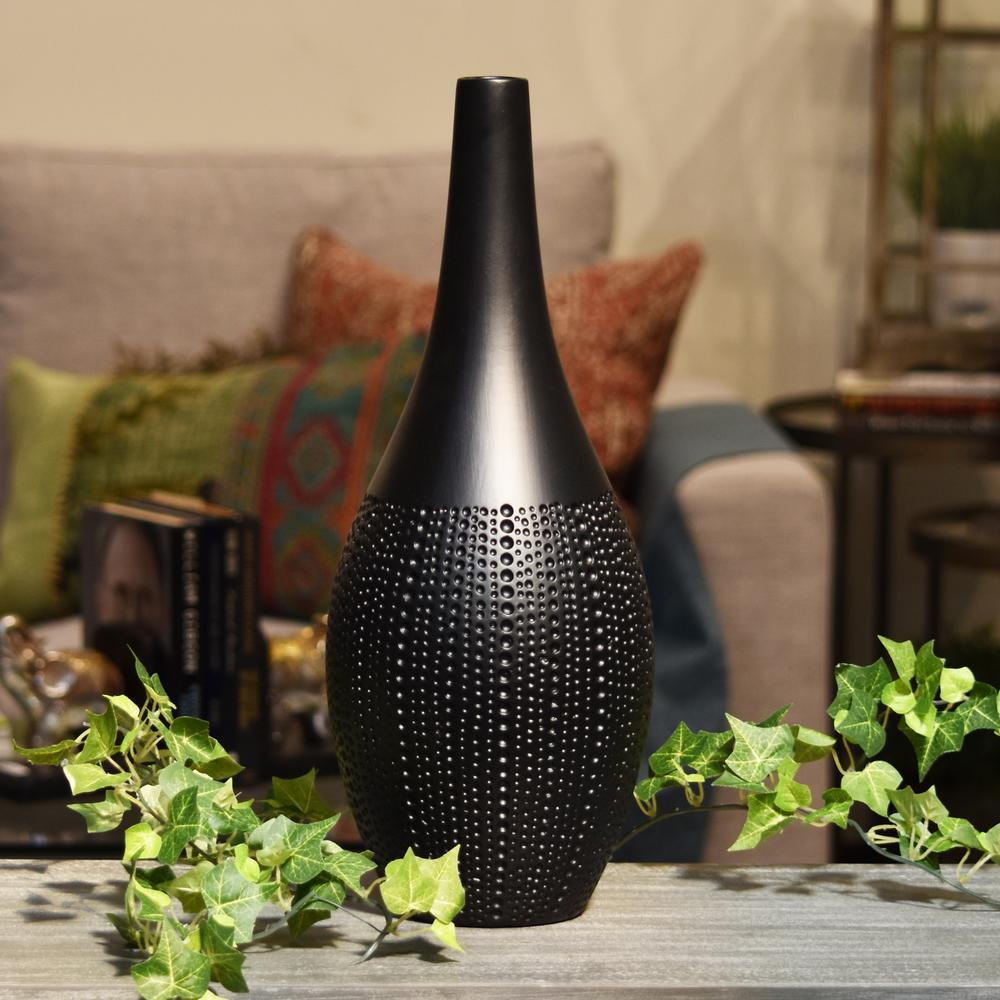 Black Matte Finish Ceramic Decorative Vase