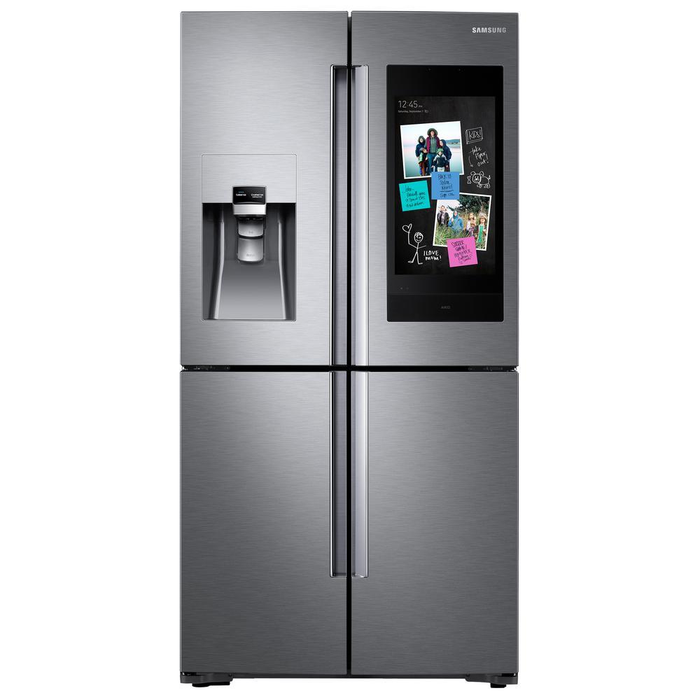 Samsung 22 cu. ft. Family Hub 4-Door French Door Smart Refrigerator in Stainless Steel with AKG Speaker, Counter Depth, Fingerprint Resistant was $4443.0 now $2998.0 (33.0% off)
