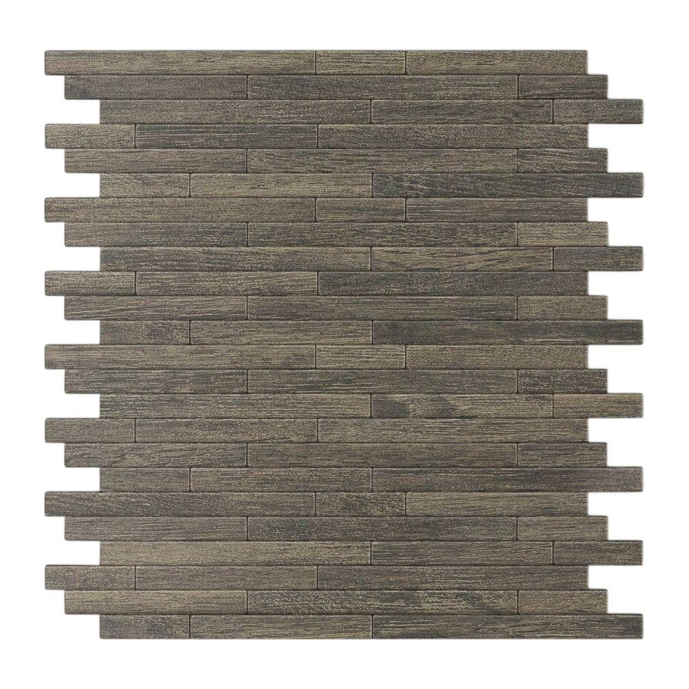 Inoxia SpeedTiles Woodly Painted Natural Wood 12.09 in. x 11.97 in. x 5 mm Metal Self-Adhesive Wall Mosaic Tile
