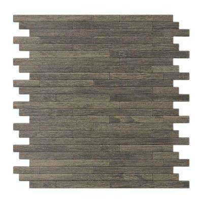 Woodly Painted Natural Wood 12.09 in. x 11.97 in. x 5 mm Metal Self-Adhesive Wall Mosaic Tile