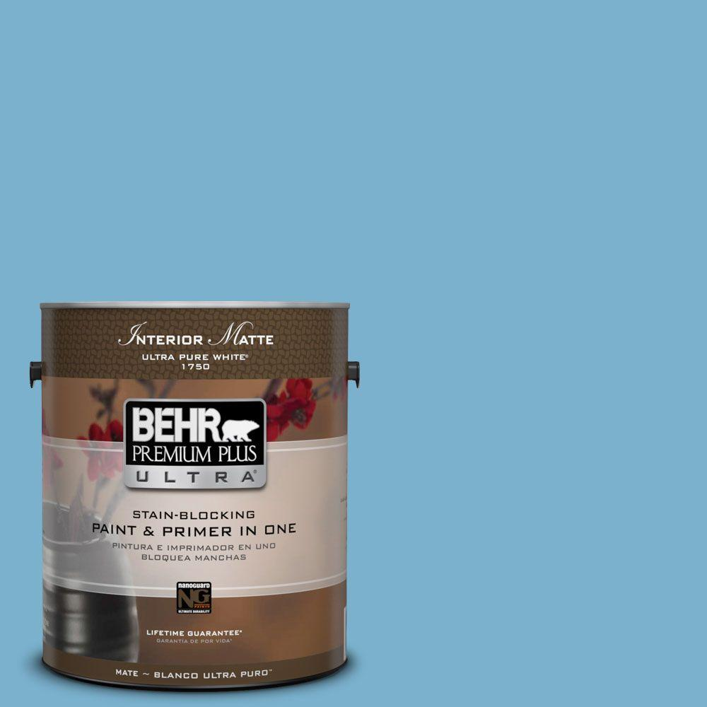 1 gal. #M490-4 Frisky Blue Matte Interior Paint