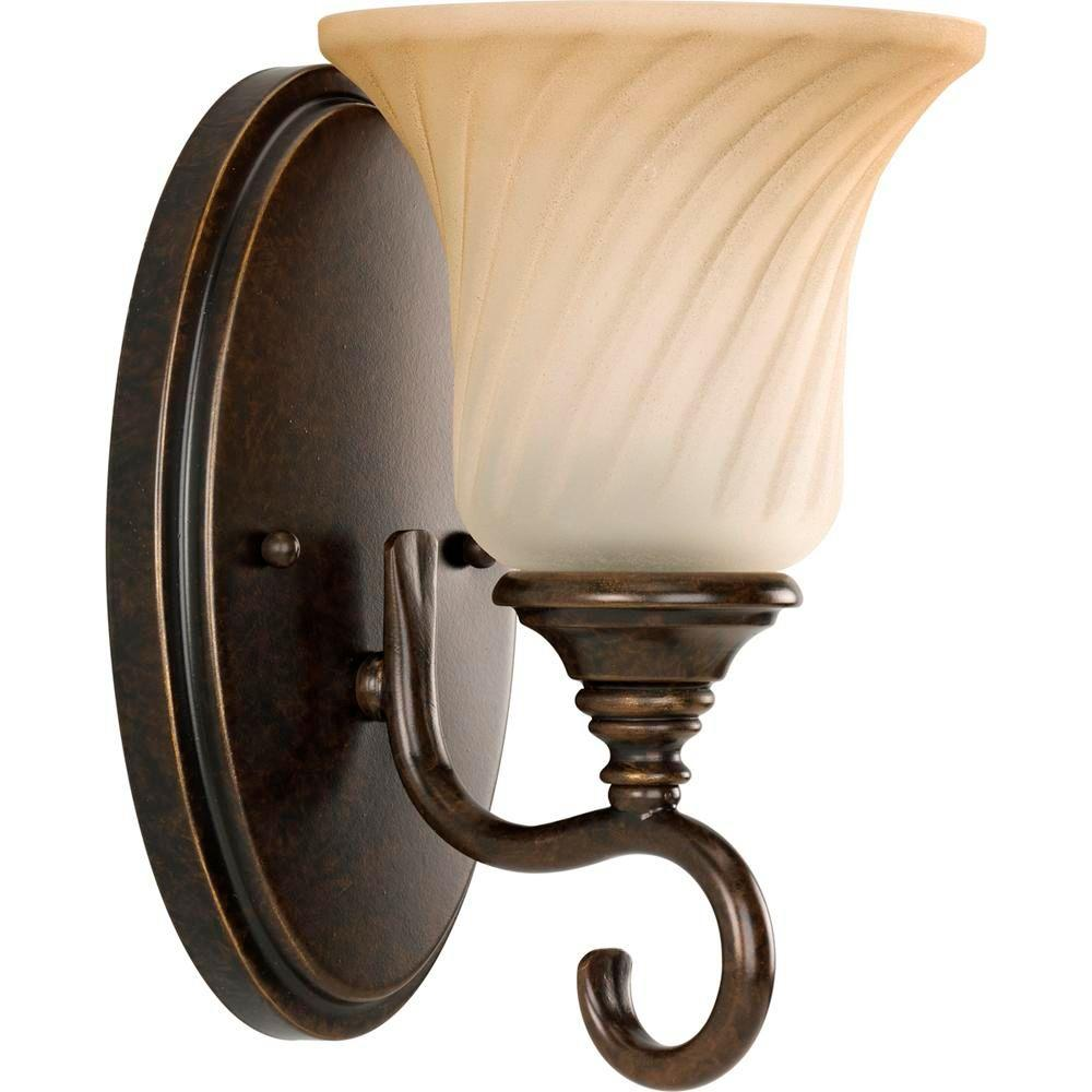 Progress Lighting Kensington Collection 1 Light Forged Bronze Wall Sconce With Frosted Caramel Swirl Glass P2783 77