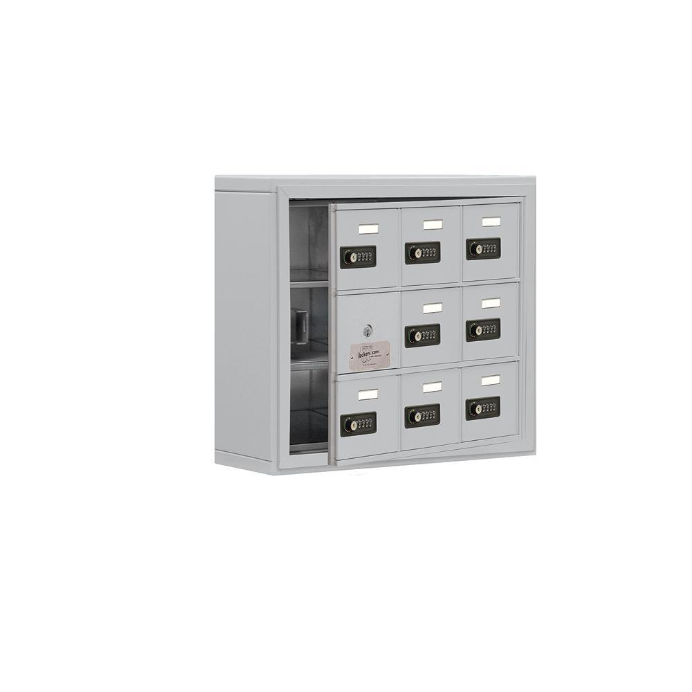 19100 Series 24 in. W x 20 in. H x 6.25 in. D 8 Doors Cell Phone Locker S-Mount Resettable Locks in Aluminum