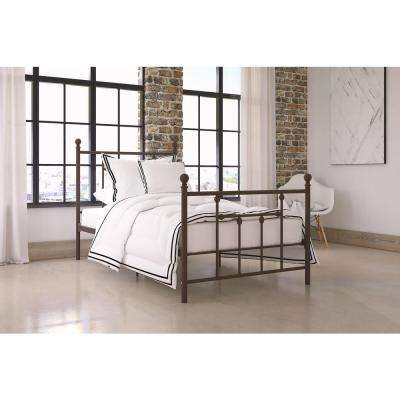 Manila Twin Size Metal Bed Frame in Bronze