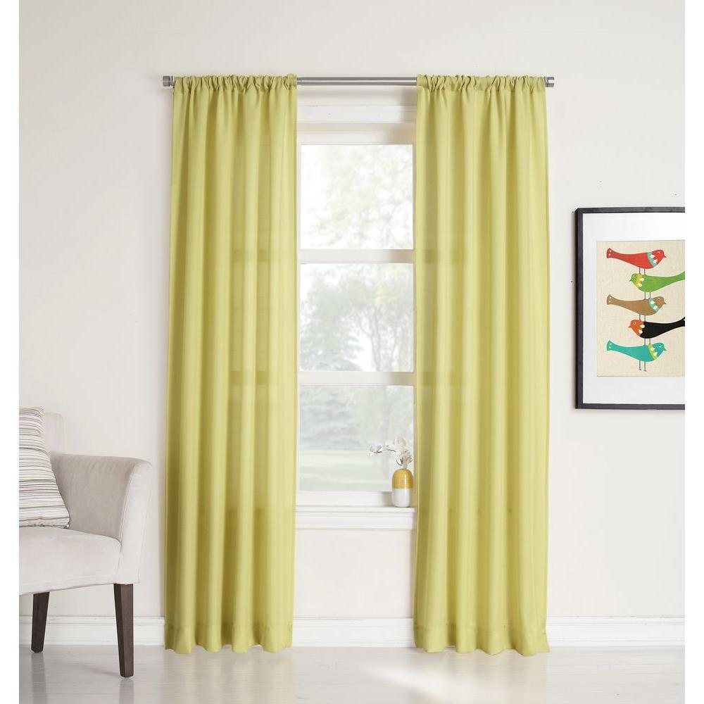 LICHTENBERG Sheer Citrine No. 918 Millennial Ryan Heathered Texture Sheer Curtain Panel, 40 in. W x 63 in. L