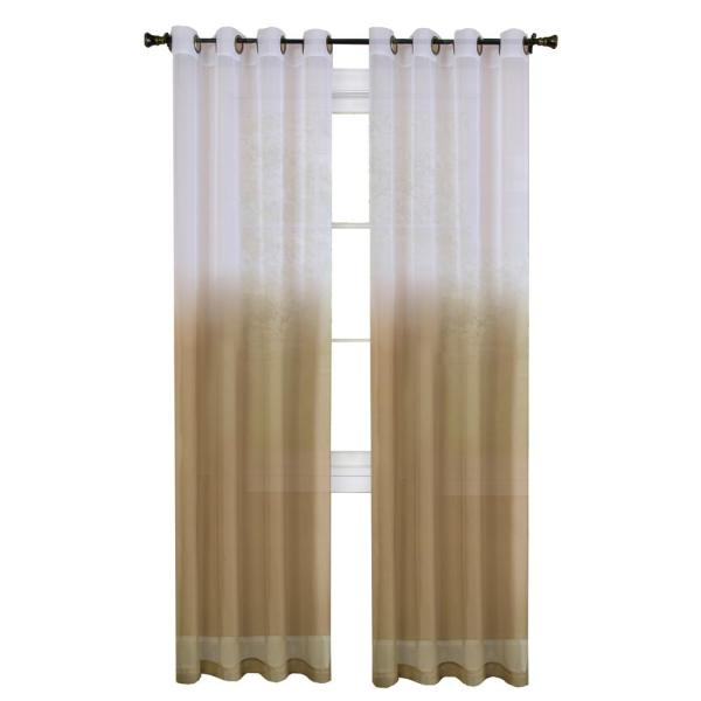 Sheer Essence Tan Window Curtain Panel - 52 in. W x 84 in. L