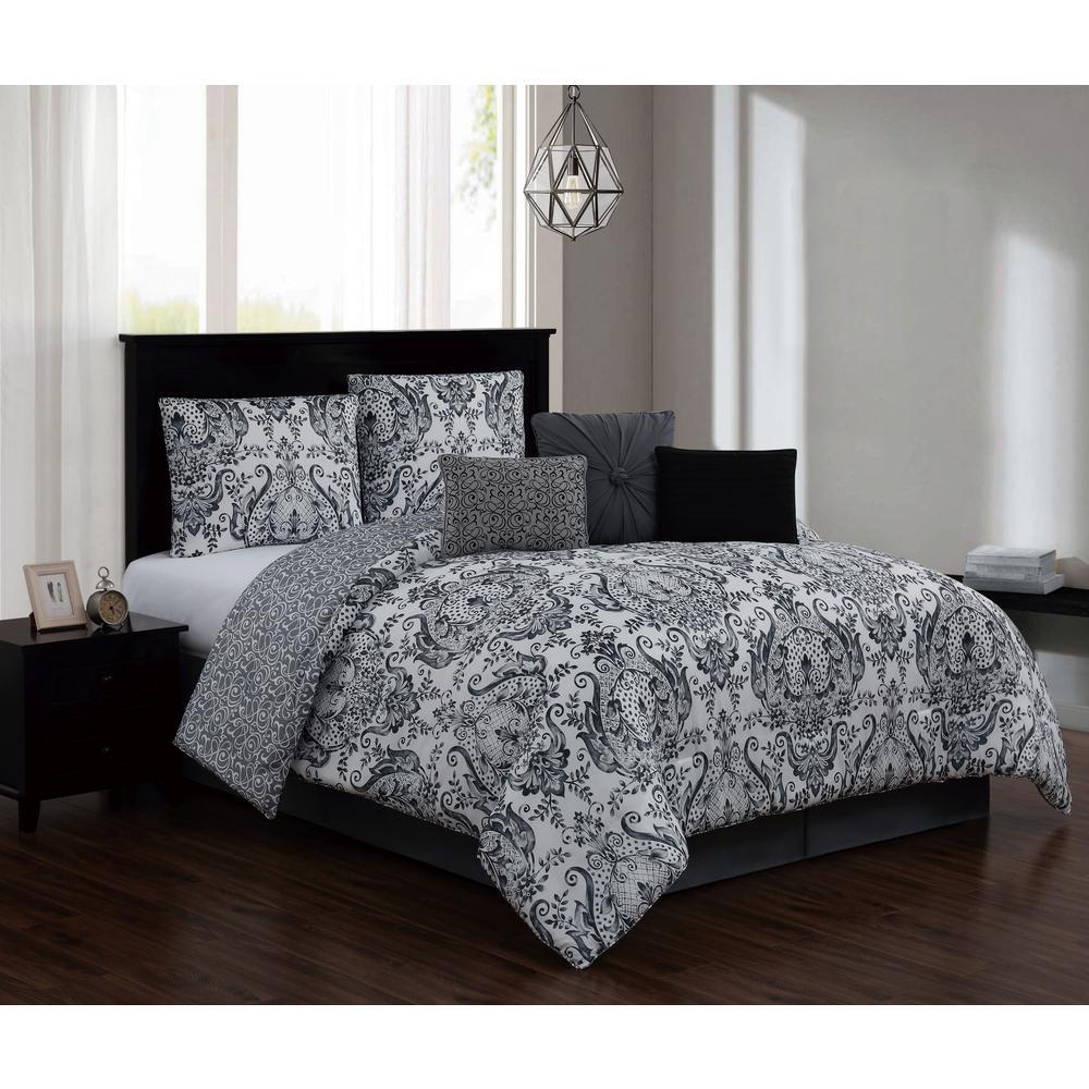 Kadia 7 Piece Black Gray King Comforter Set W Bedskirt
