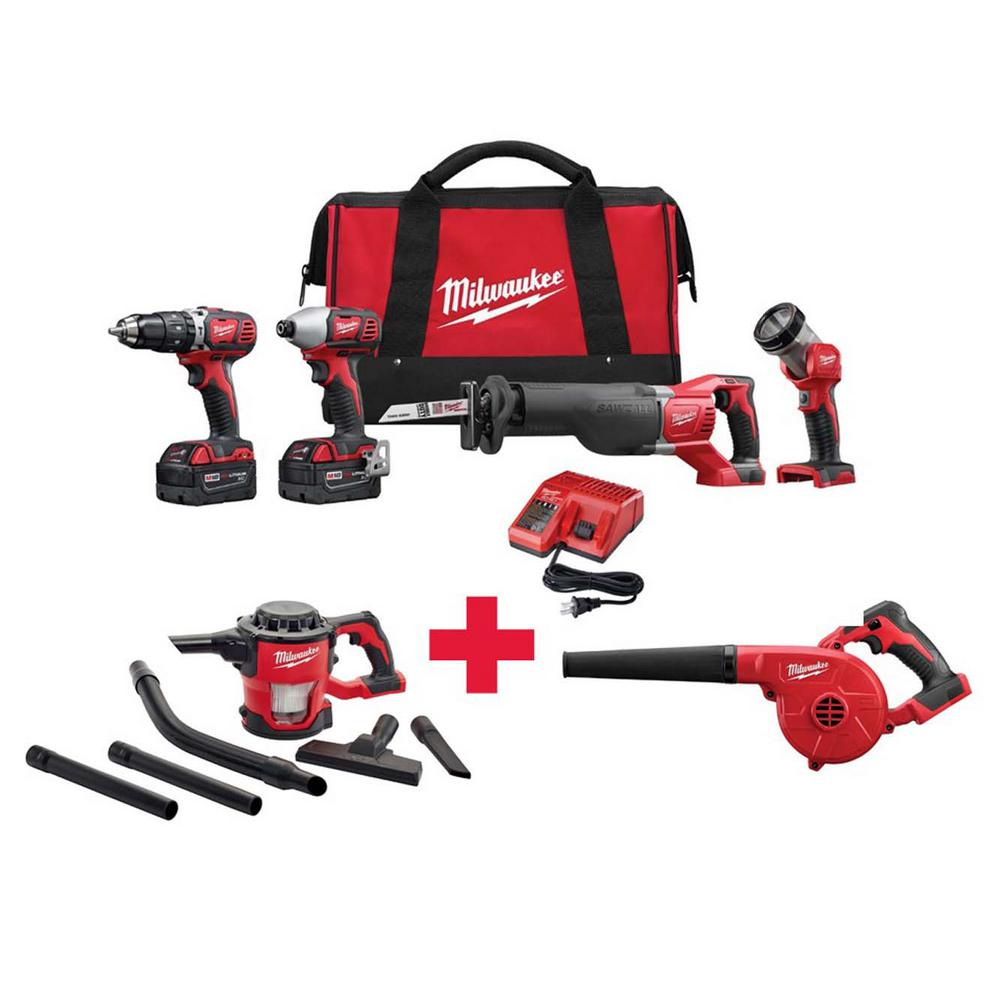 M18 18-Volt Lithium-Ion Cordless Combo Kit (4-Tool) with Free M18 vacuum