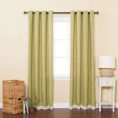 84 in. L Sage Bottom Bordered Textured Faux Linen Curtain (2-Pack)