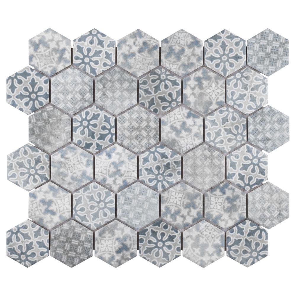 Merola Tile Medley Hex Blue 10-7/8 in. x 12-1/2 in. x 7 mm Porcelain Mosaic Tile