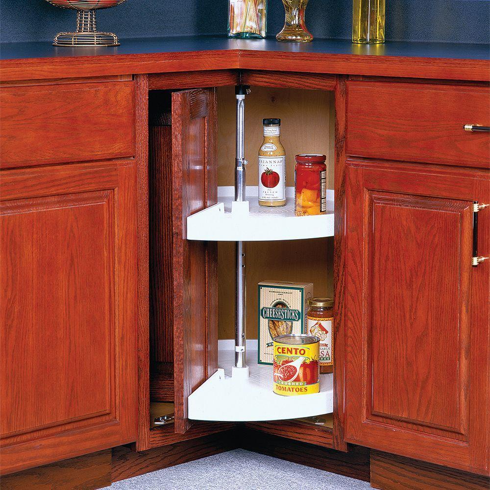 33 in. H x 28 in. W x 28 in. D 2-Shelf Pie Cut Door Mount Lazy Susan Cabinet Organizer
