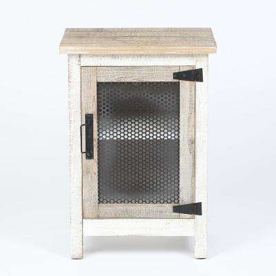 White 28.2 in. H End Table with Storage