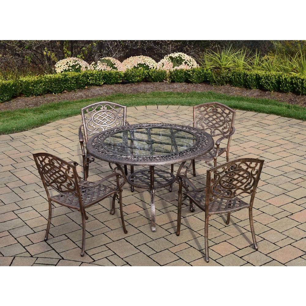 Mississippi 5-Piece Cast Aluminum Patio Dining Set with Round Table 4