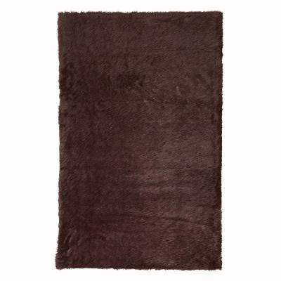 Faux Sheepskin Chocolate 5 ft. x 8 ft. Area Rug