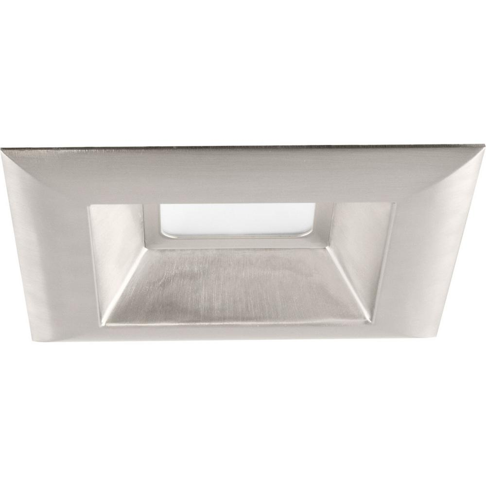 Progress Lighting Retrofit Square Collection 6 In Brushed Nickel Integrated Led Recessed Trim