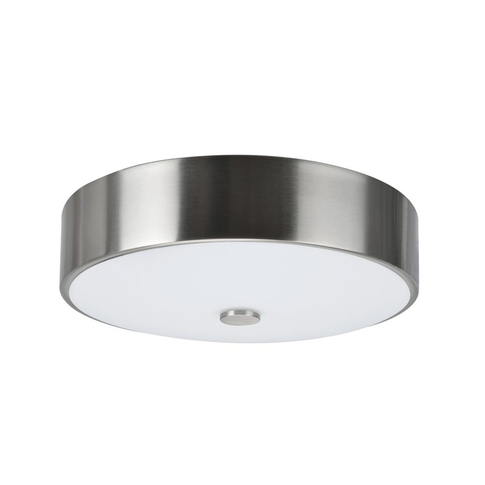Aspen Creative Corporation 11 in. 11-Watt Satin Nickel Integrated LED Ceiling Flush Mount with Frosted Glass Diffuser