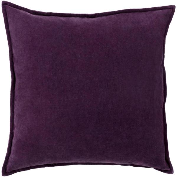 Velizh Dark Purple Solid Polyester 18 in. x 18 in. Throw Pillow