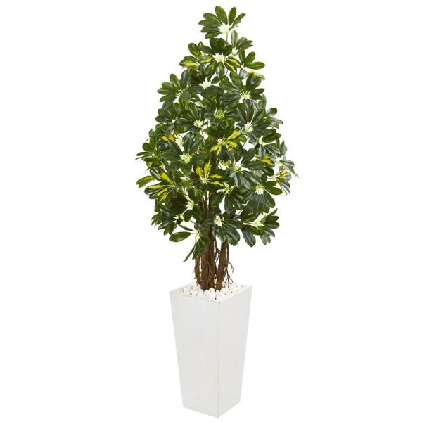 Nearly Natural Indoor 5-Ft. Schefflera Artificial Tree in White Tower Planter
