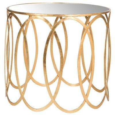 Cyrah Antique Gold Leaf End Table