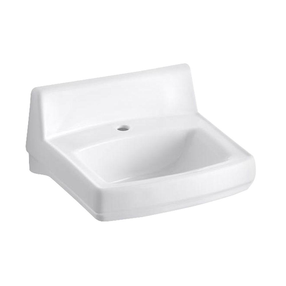 KOHLER Greenwich Wall Mounted Vitreous China Bathroom Sink In White With  Overflow Drain K 2032 0   The Home Depot