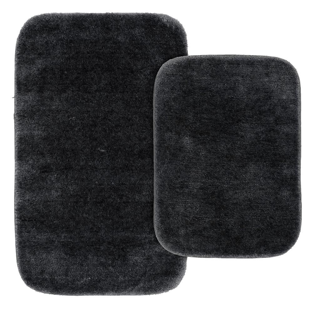 Traditional 2 Piece Washable Bathroom Rug Set In Dark Gray