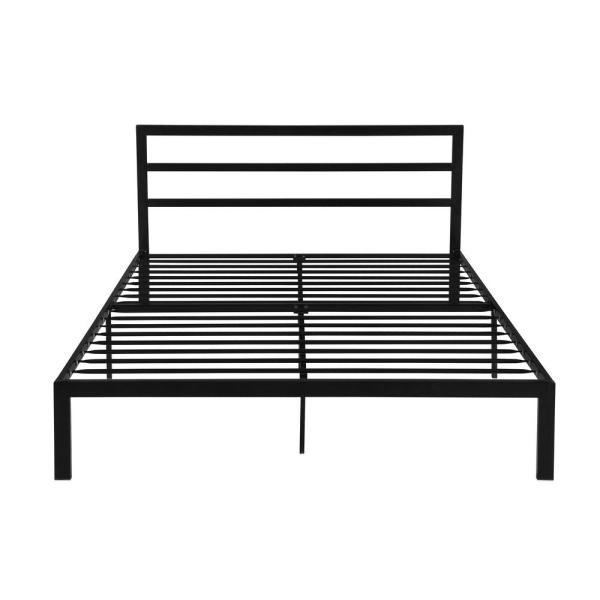 Noble House Kellen Contemporary Modern Queen Size Flat Black Iron Bed Frame 54308 The Home Depot