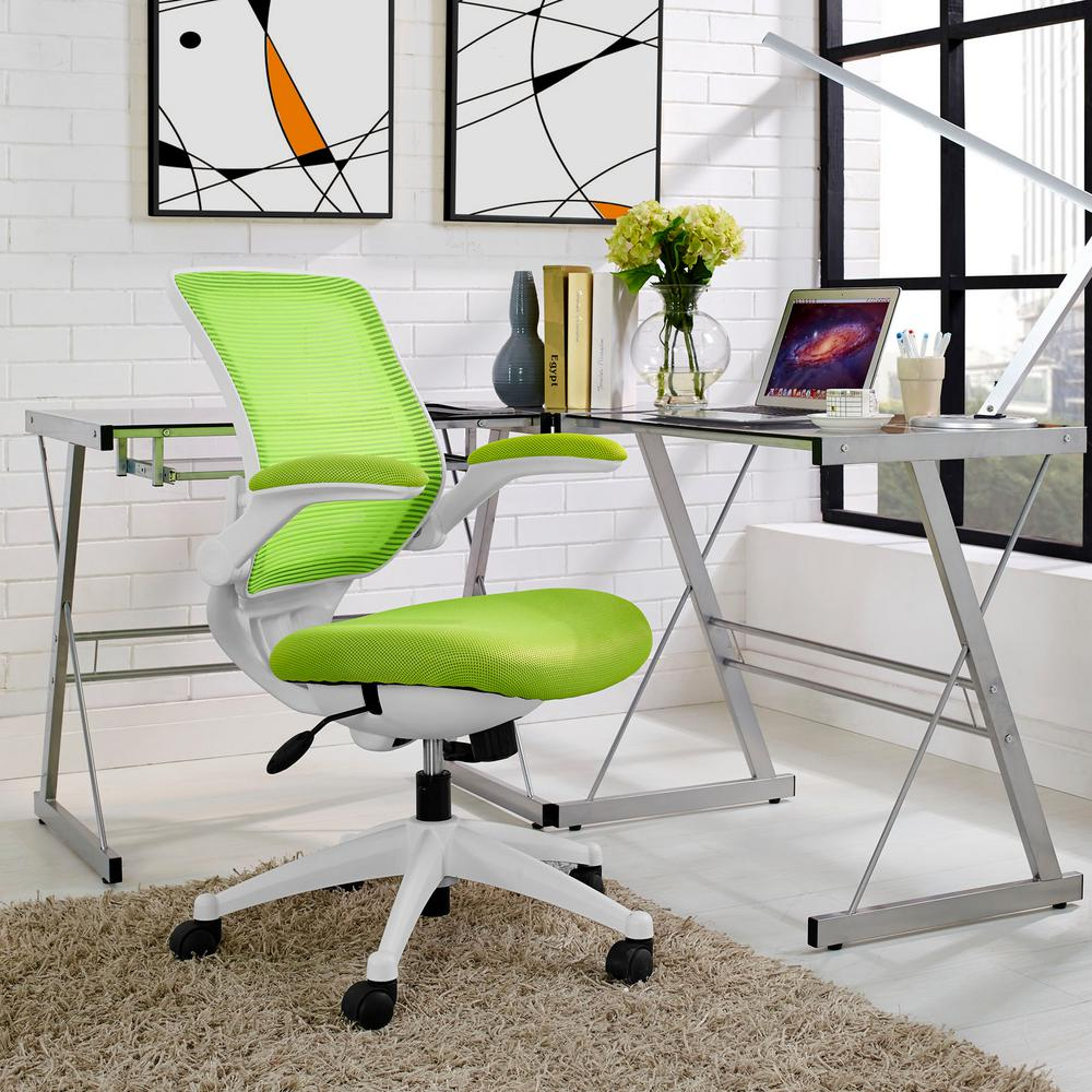 Modway Edge White Base Office Chair in Green
