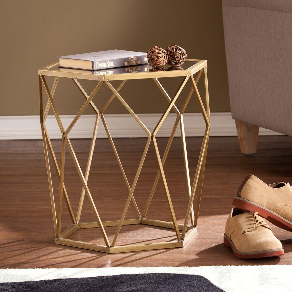 Southern Enterprises Alyse Metallic Gold End Table HD889382   The Home Depot